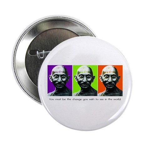 """Gandhi - Be the change 2.25"""" Button (10 pack)"""