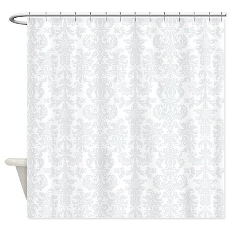 White Light Gray Floral Damasks Shower Curtain by artonwear