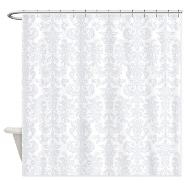 White Light Gray Floral Damasks Shower Curtain By Artonwear