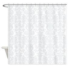 White Light Gray Floral Damasks Shower Curtain