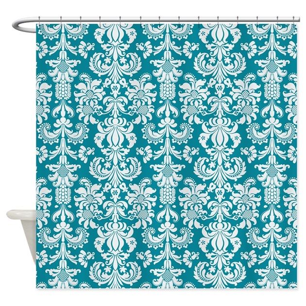 white and blue green floral damasks shower curtain by artonwear. Black Bedroom Furniture Sets. Home Design Ideas