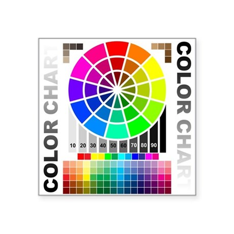 "Color chart Square Sticker 3"" x 3"""