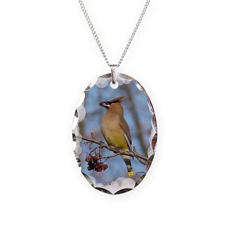 Cedar Waxwing Necklace Oval Charm