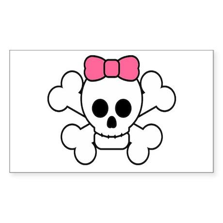 Girly Skull Sticker (Rectangle)