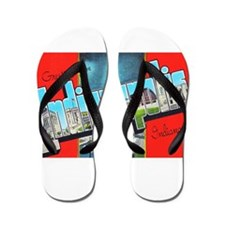 Indianapolis Indiana Greetings Flip Flops