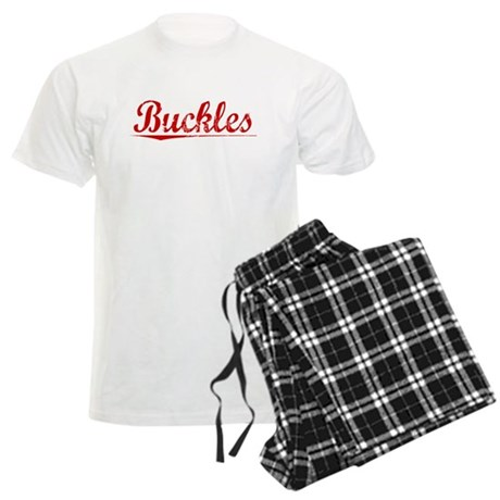 Buckles, Vintage Red Men's Light Pajamas