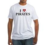 I Love Pirates Fitted T-Shirt