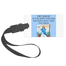 funny jesus god savior church joke Luggage Tag