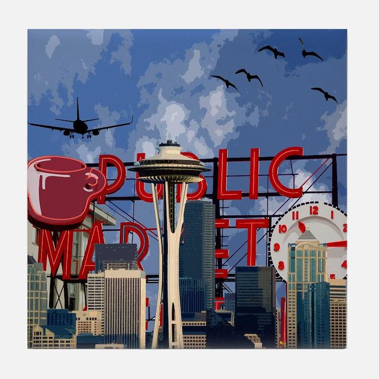 Seattle Icons Tile Coaster