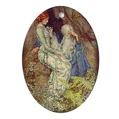 Merlin & Vivien Oval Ornament