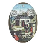Medieval Village Oval Ornament