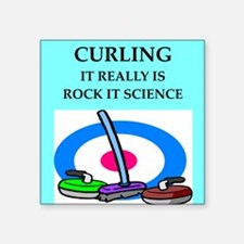"i love curling Square Sticker 3"" x 3"""
