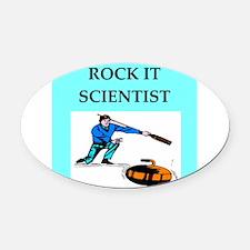 i love curling Oval Car Magnet