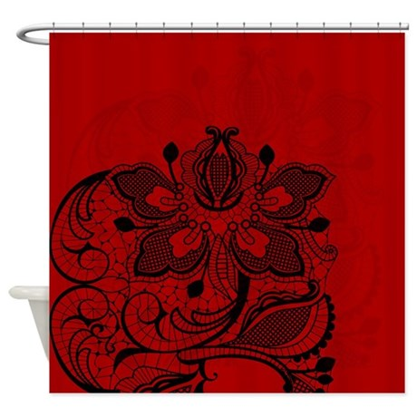 Red And Black Lace Shower Curtain By GlamourGirls2