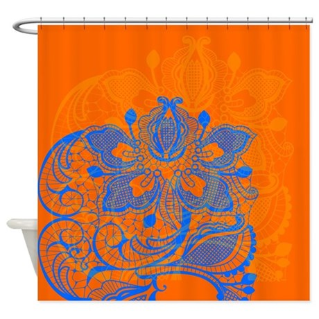 orange and blue lace shower curtain by glamourgirls2. Black Bedroom Furniture Sets. Home Design Ideas