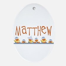 Matthew name & baby duckies Oval Ornament
