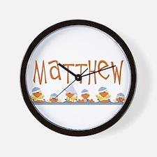 Matthew name & baby duckies Wall Clock