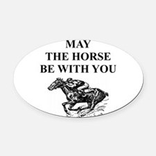 i love horse racing Oval Car Magnet