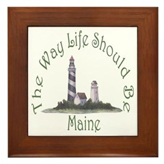 Maine State Motto Framed Tile