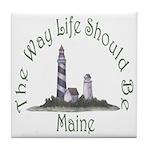 Maine State Motto Tile Coaster