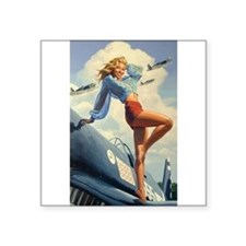 """The Pin Up Girl. Square Sticker 3"""" x 3"""""""