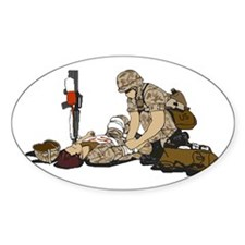 Wounded Warrior Support the Troops Oval Decal
