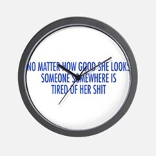 tired of her shit blue.png Wall Clock