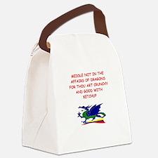 funny mustard dragon ketchup joke Canvas Lunch Bag