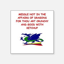 funny mustard dragon ketchup joke Square Sticker 3