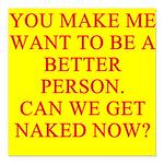 get naked Square Car Magnet 3