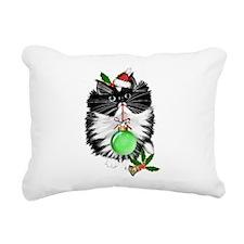A Tuxedo Merry Christmas Rectangular Canvas Pillow