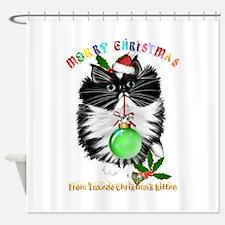 A Tuxedo Kitten Christmas Shower Curtain