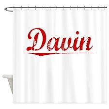 Davin, Vintage Red Shower Curtain