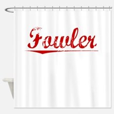 Fowler, Vintage Red Shower Curtain