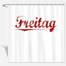 Freitag, Vintage Red Shower Curtain