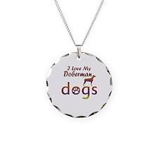 Doberman designs Necklace Circle Charm
