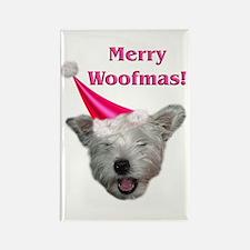 Christmas Dog Rectangle Magnet