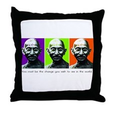 Gandhi - Be the change Throw Pillow