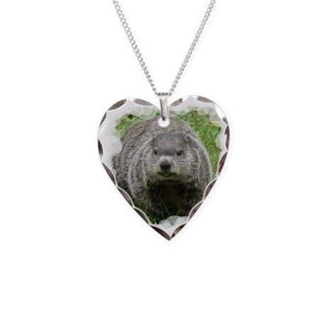 Groundhog Eating Necklace Heart Charm