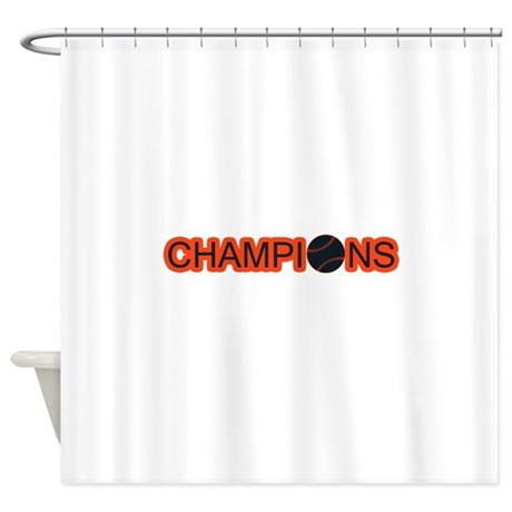 Black And Orange Champions Shower Curtain By ILoveMyTeam