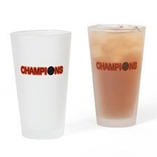 Black and Orange Champions Drinking Glass
