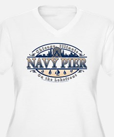 Navy Pier Oval Stylized Skyline design T-Shirt