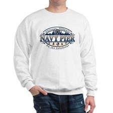 Navy Pier Oval Stylized Skyline design Sweatshirt