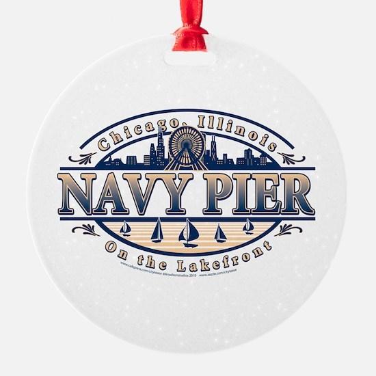 Navy Pier Oval Stylized Skyline design Ornament