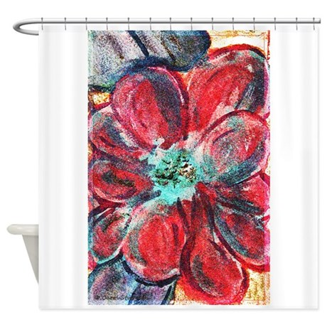 Red And Blue Flower Shower Curtain By Csturman10