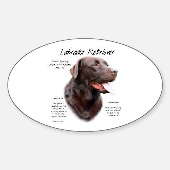 Chocolate Lab Sticker (Oval)