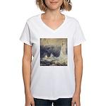 Bell Rock Lighthouse by Turner Women's V-Neck T-Sh