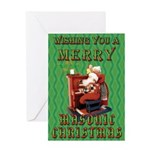 Santa and the Mrs. Masonic Card Greeting Card