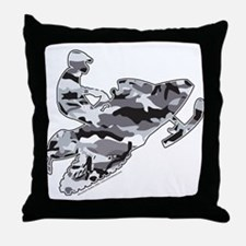 Camouflage Grey Snowmobiler Throw Pillow