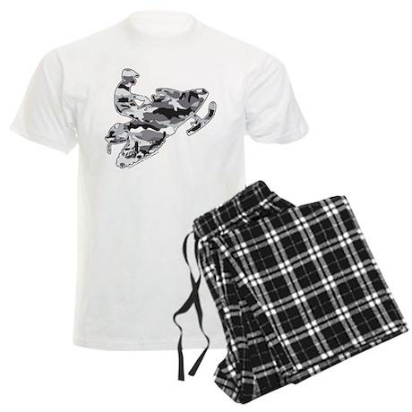 Camouflage Grey Snowmobiler Men's Light Pajamas